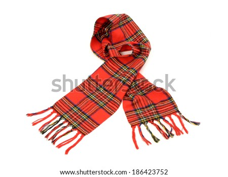 Tartan winter scarf with fringe. Red plaid scarf isolated on white background. - stock photo
