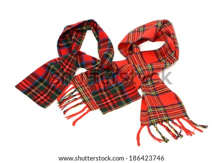 Tartan winter scarves with fringe. Different styles of red plaid scarves isolated on white background. - stock photo