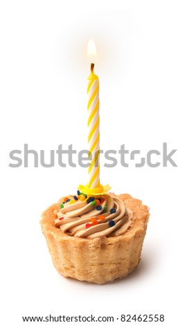 Tartlet cake with a candle - stock photo