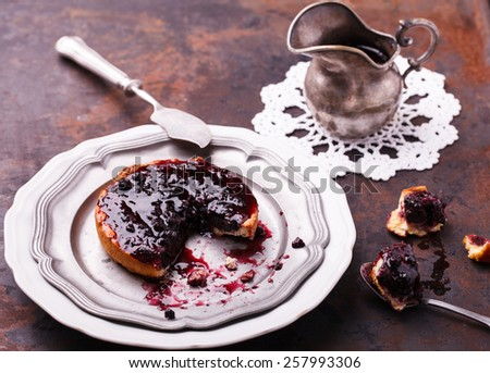 Tartlet with blueberry jam.selective focus - stock photo