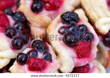 tarts with forest fruits - stock photo