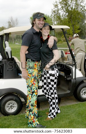 "TARZANA, CA - APRIL 18: Annie Wershing and Stephen Full arrive at the 8th annual ""Hack n' Smack, Kerry Daveline Memorial, Celebrity Golf Classic"" on April 18, 2011 in Tarzana, CA"