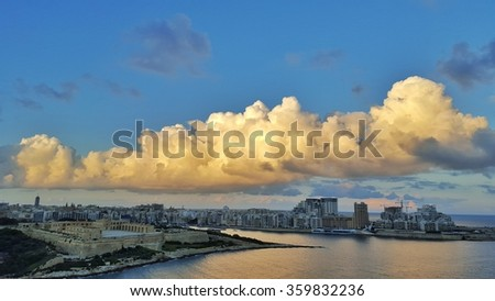 Tas-Sliema panorama view from Valletta, Malta with dramatic clouds