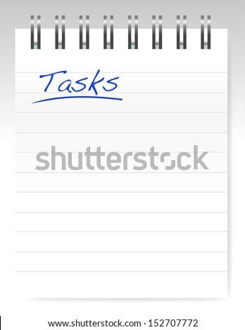 tasks notepad illustration design over a white background - stock photo