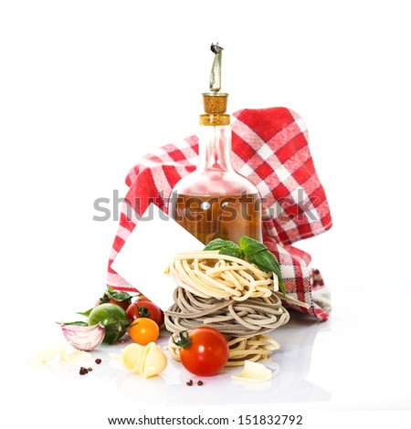 tasted italian pasta with food ingrediens for cooking and message card