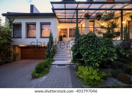 Tasteful and light stairs of the house  - stock photo