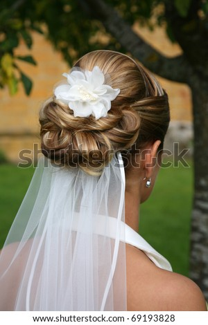 Tasteful bridal hairstyle.