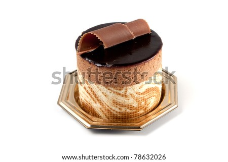 Tasteful Chocolate Pastry mousse isolated on white background - stock photo