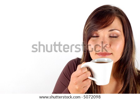 tasting coffee - stock photo