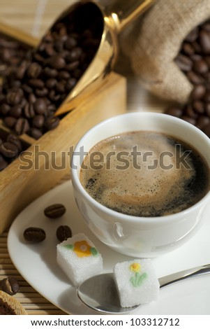 tasting coffee. Arabica Coffee, Brazilian Coffee, Coffee Kenya, Colombian Coffee, roasted coffee, Costa Rica Coffee, Ethiopian coffee, Coffee of Jamaica, Indonesian Coffee, coffee mocha - stock photo