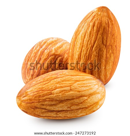 tasty almonds nuts isolated on white background Clipping Path  - stock photo