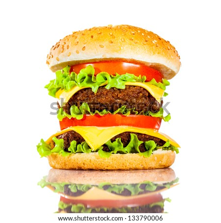 Tasty and appetizing hamburger on a white background