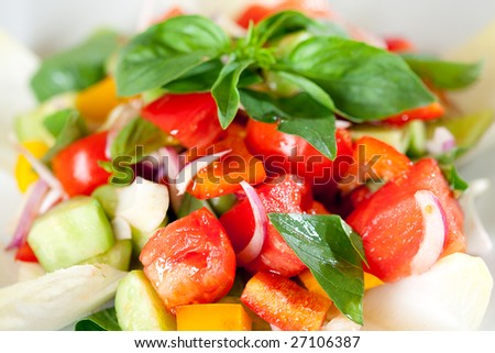Tasty and fresh vegetable salad. Healthy eating