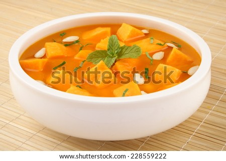 Tasty and healthy Pumpkin curry served in bowl - stock photo