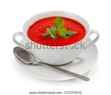 Tasty and healthy tomato soup isolated on white background - stock photo
