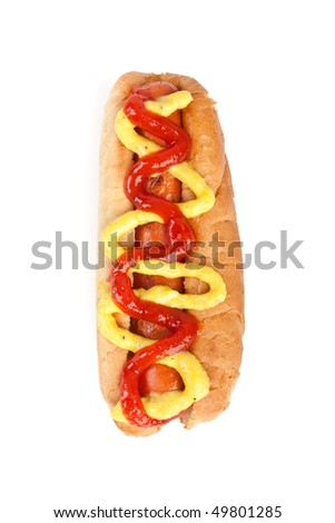 tasty and spicy hot dog - stock photo