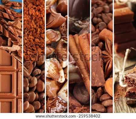 Tasty and sweet chocolate in collage - stock photo