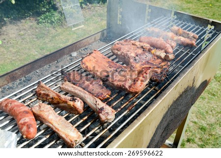 Tasty assortment of meat on a summer barbecue with sausages, beef kebabs and spare ribs - stock photo