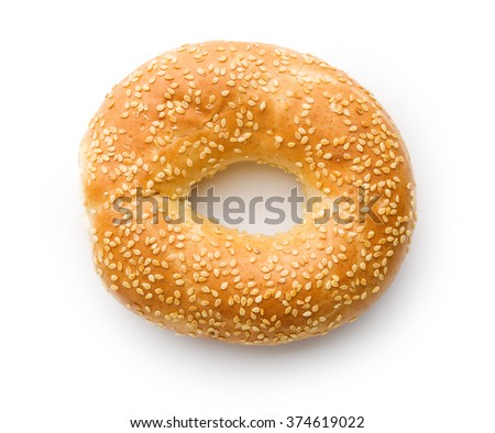tasty bagel with sesame seed on white background - stock photo