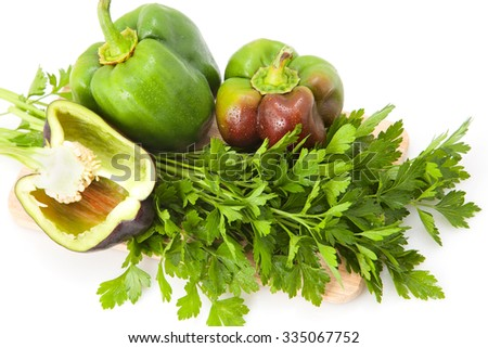 tasty bell peppers on a cutting board. close-up - stock photo