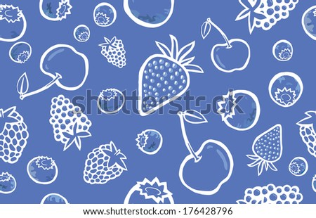 Tasty Berries Blue with White Outline Seamless Pattern