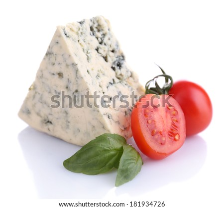 Tasty blue cheese with basil and tomato, isolated on white - stock photo