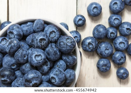 Tasty blueberries fruit in bowl. Blueberries are antioxidant organic superfood.