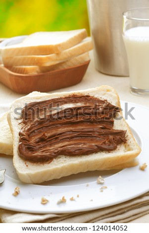 Tasty breakfast made of bread with chocolate cream and milk - stock photo