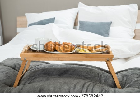 Tasty Breakfast On A Wooden Table Tray - stock photo