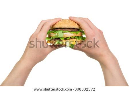 Tasty burger sandwich in hands isolated on white background