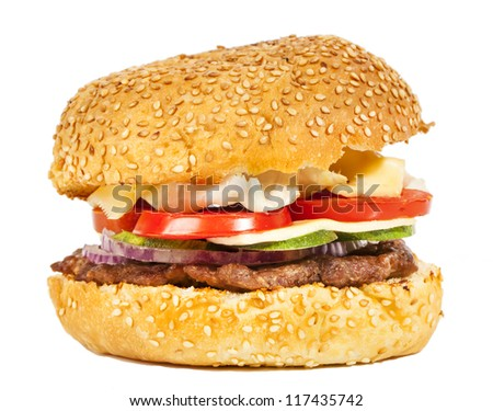 Tasty burger with vegetables isolated on white