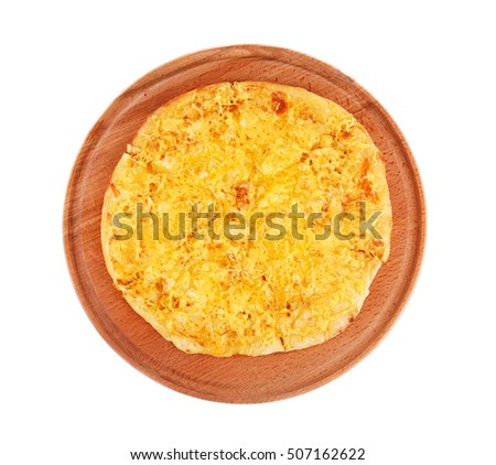 Tasty cheese pizza on wooden board and white background