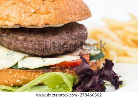 Tasty cheeseburger with fried potatoes, isolated on white. - stock photo