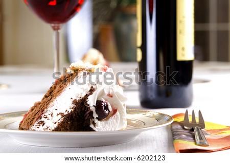 tasty cherry cake - stock photo