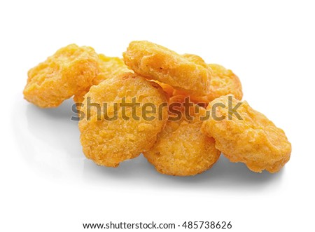 Tasty chicken nuggets, isolated on white