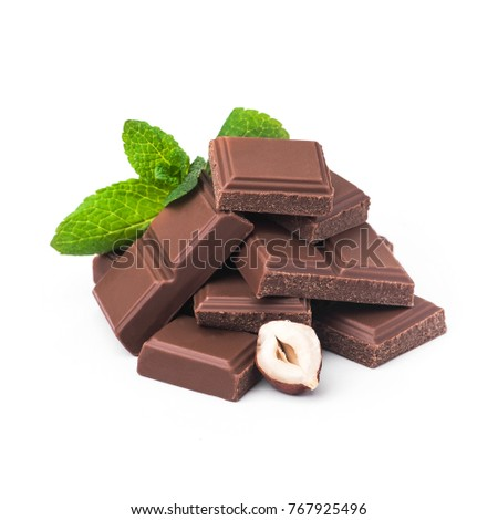tasty chocolate bar with nuts isolated on a white background