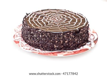 Tasty chocolate cake on a plate - stock photo