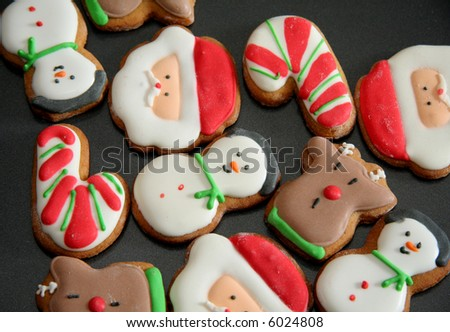 Tasty Christmas Cookies on the baking tray - stock photo