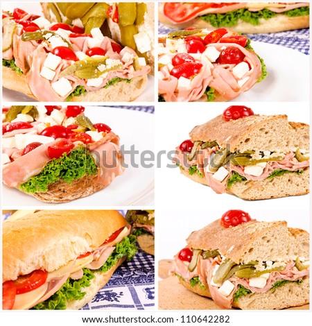Tasty collage of sandwichs - stock photo