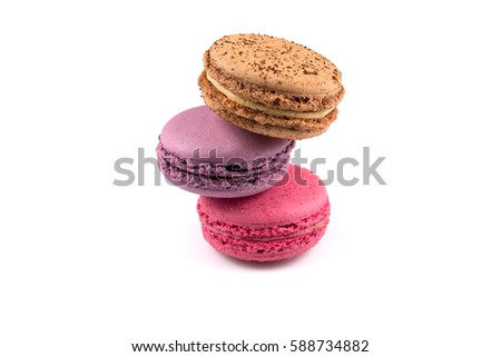 Tasty colorful macaroon isolated on a white background