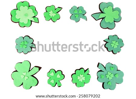 Tasty cookies as shamrocks for Saint Patrick's Day - stock photo