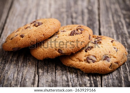 Tasty cookies on a wooden table. - stock photo