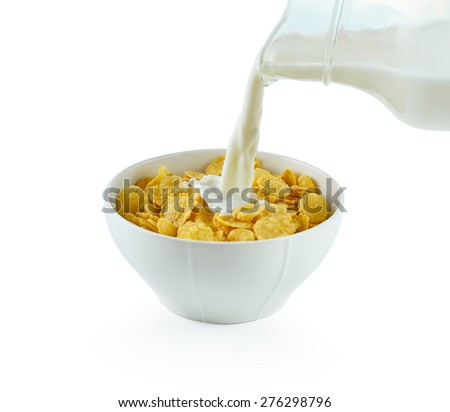 tasty cornflakes in white  bowl and glass of milk on white background - stock photo