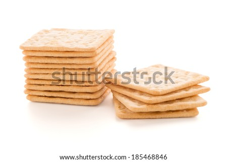 Tasty cracker biscuit isolated on white background - stock photo