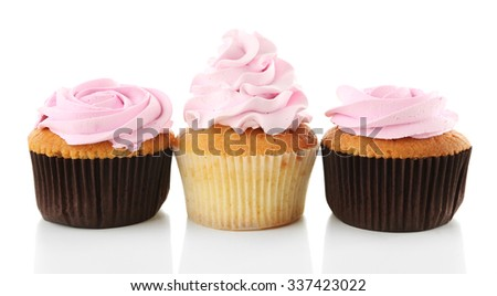 Tasty cupcakes, isolated on white