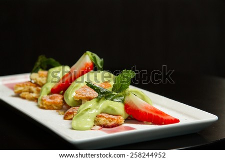 Tasty dessert with cookies - stock photo