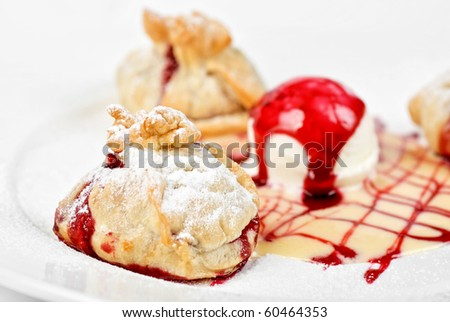 Tasty dessert with ice cream close up - stock photo