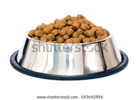 Tasty dog food (lamb and rice) in metal plate isolated on white - stock photo