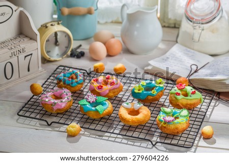 Tasty donuts made of fresh ingredients - stock photo