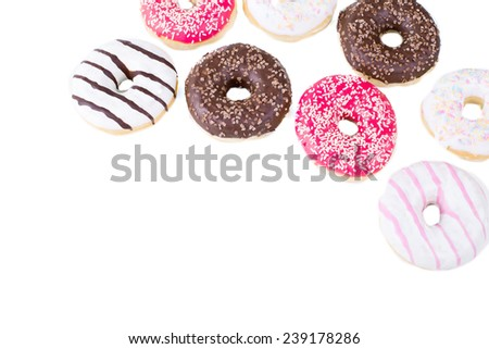 Tasty donuts on white background - stock photo